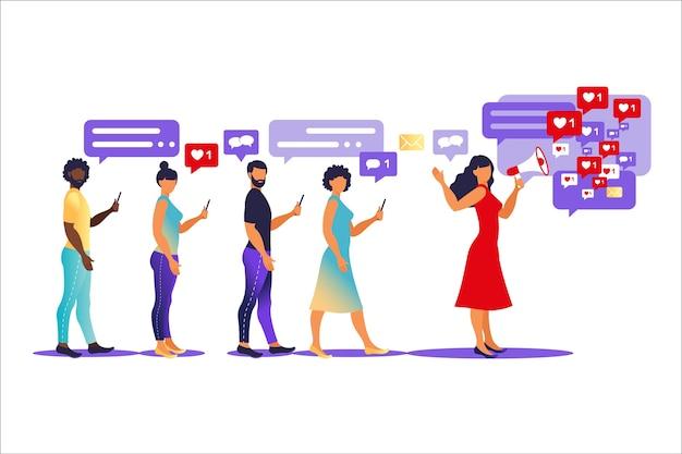 Concept De Marketing D'influence - Services Et Produits De Promotion De Blogueur Pour Ses Abonnés En Ligne Vecteur Premium