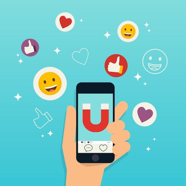 Concept De Marketing Des Médias Sociaux Vecteur Premium