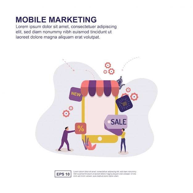Concept de marketing mobile Vecteur Premium