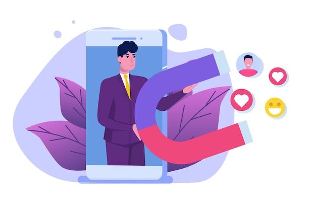 Concept De Marketing Numérique D'influence, Engagement Avec Les Abonnés, Campagne Sociale. Vecteur Premium