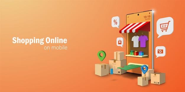 Concept De Marketing Numérique, Shopping En Ligne Sur Application Mobile Vecteur Premium