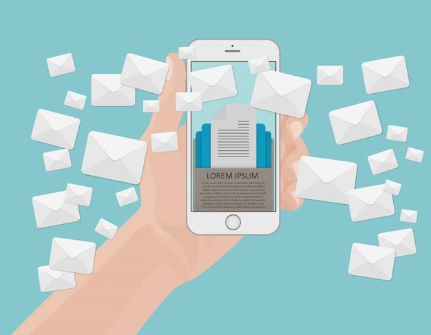 Concept de marketing par courriel Vecteur Premium