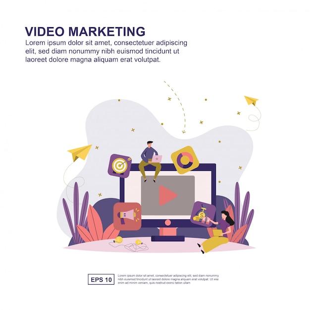 Concept de marketing vidéo Vecteur Premium