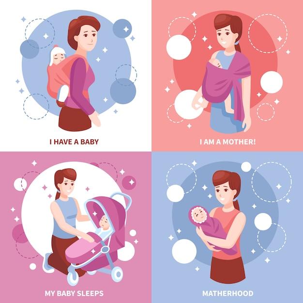Concept De La Maternité Des Bébés Endormis Vecteur gratuit