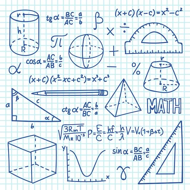 Concept De Mathématiques Et De Géométrie De Doodle. Fonctions De Trigonométrie, Graphiques Et Formules Mathématiques. Fond D'éducation Scolaire De Vecteur Vecteur Premium