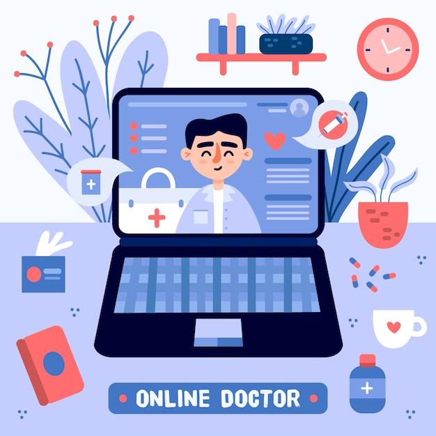 Concept De Médecin En Ligne Vecteur gratuit