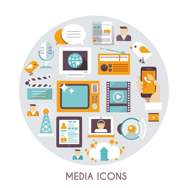 Concept de médias de masse Vecteur gratuit