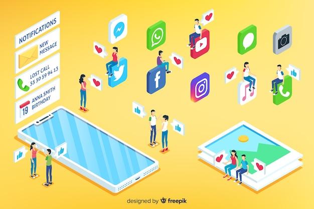 Concept De Médias Sociaux Isométrique Vecteur gratuit