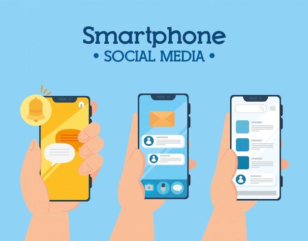Concept De Médias Sociaux, Mains Tenant Des Smartphones Avec Notifications Vecteur Premium