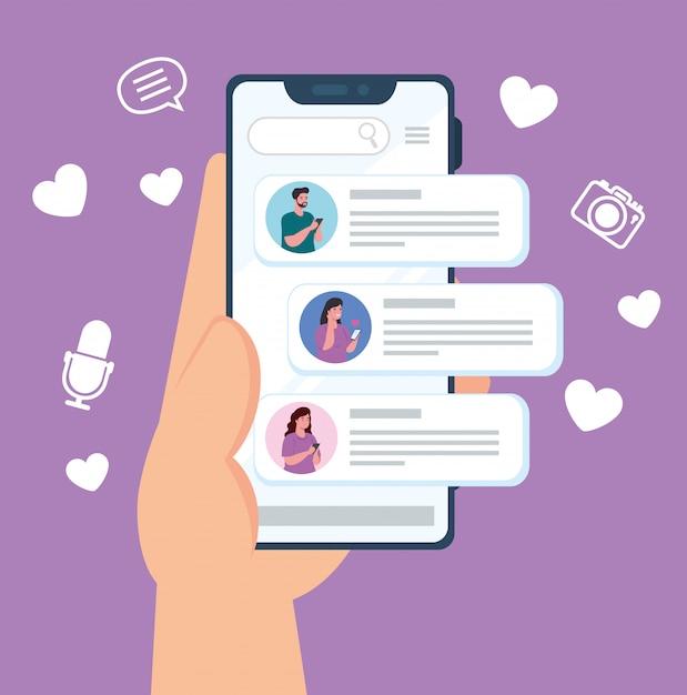 Concept De Médias Sociaux, Personnes Discutant Dans Un Smartphone, Communication En Ligne Vecteur Premium