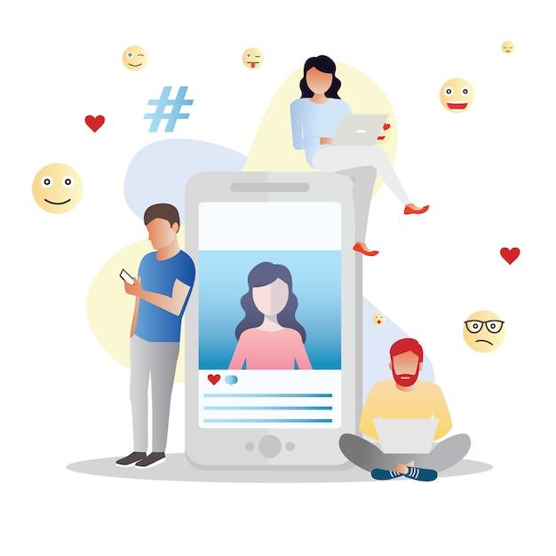 Concept de médias sociaux Vecteur Premium