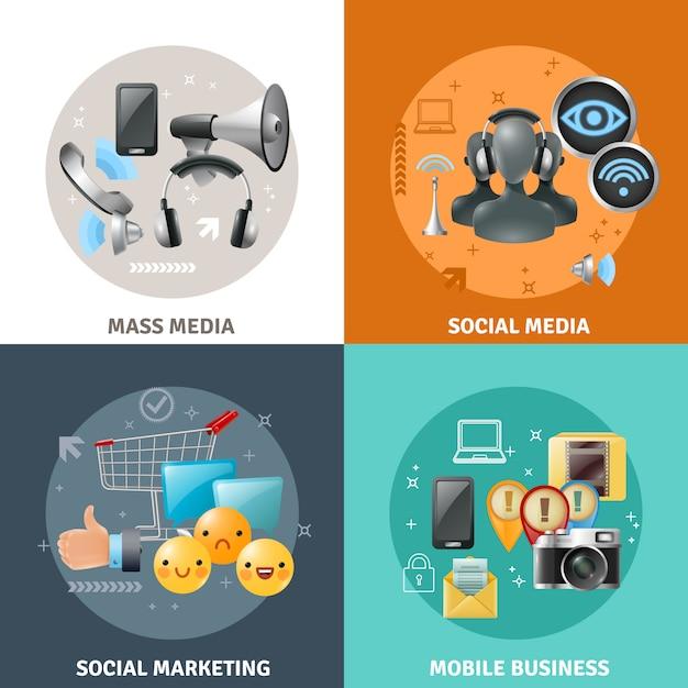 Concept de médias sociaux Vecteur gratuit