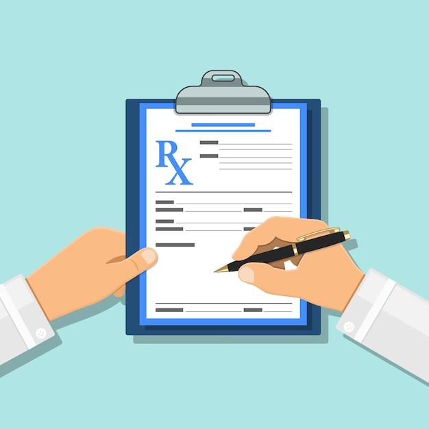 Concept Médical Avec Prescription Sur Formulaire Rx Vecteur Premium