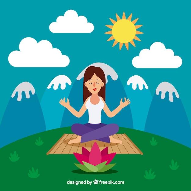 Concept de méditation avec un design plat Vecteur gratuit