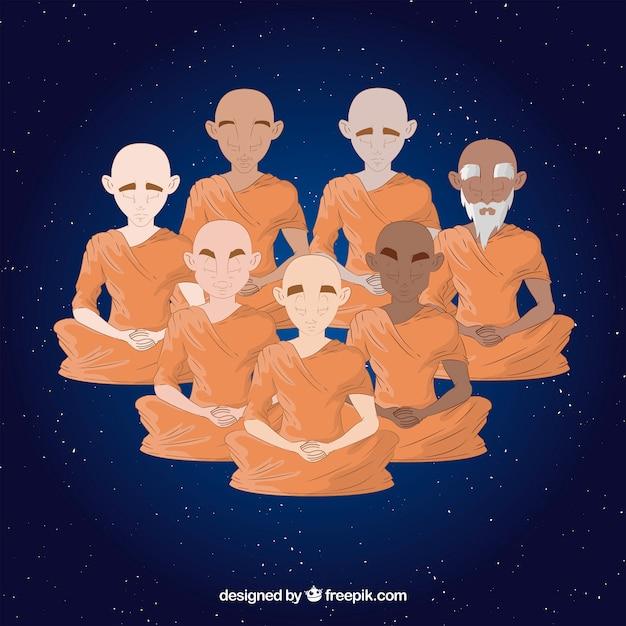 Concept de méditation avec des moines boudhistes Vecteur gratuit