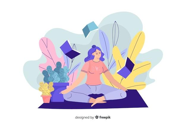 Concept de méditation pour la page de destination Vecteur gratuit