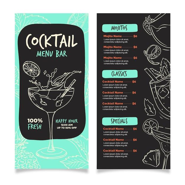 Concept De Menu De Cocktail Vecteur gratuit