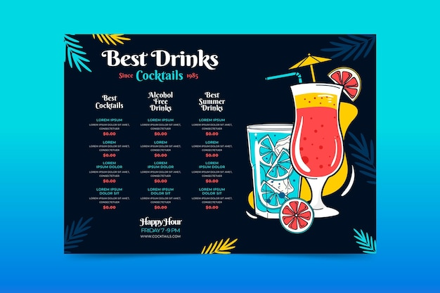 Concept De Menu De Cocktail Vecteur gratuit