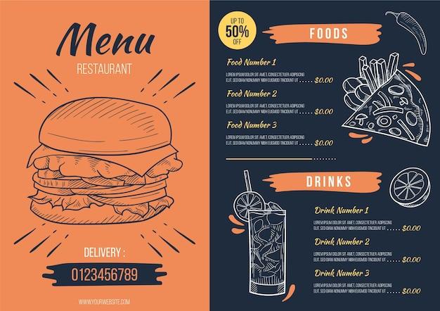 Concept De Menu De Restaurant Numérique Vecteur gratuit