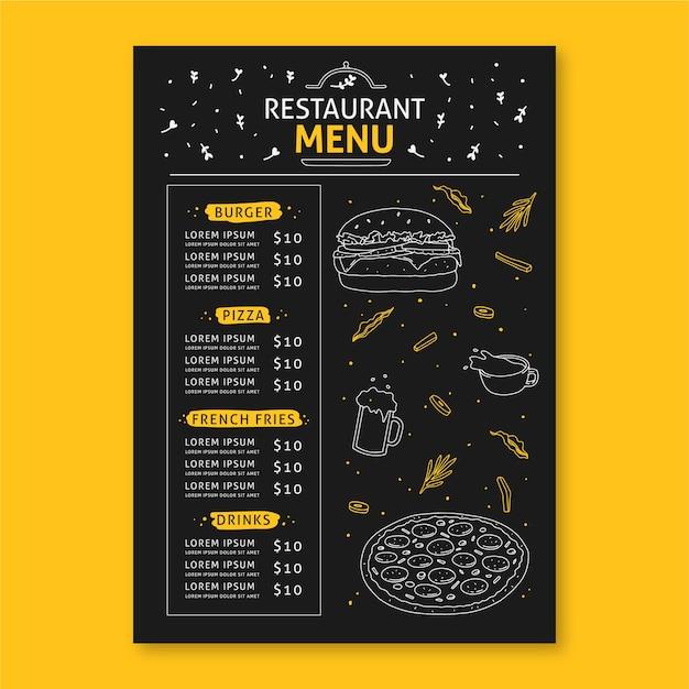 Concept De Menu De Restaurant Pour Modèle Vecteur gratuit