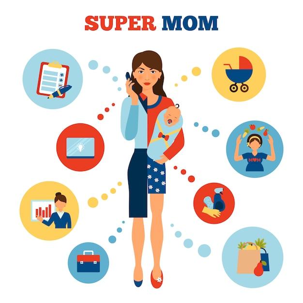 Concept De Mère De Femme D'affaires Vecteur gratuit