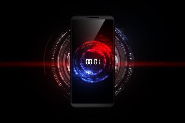 Concept de minuterie numérique et compte à rebours sur smartphone, fond de technologie abstraite futuriste, Vecteur Premium
