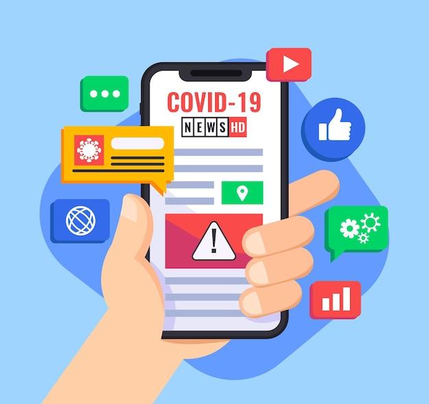 Concept De Mise à Jour De Coronavirus Avec Personne Tenant Un Smartphone Illustré Vecteur Premium