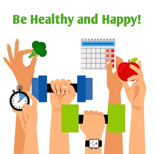 Concept de mode de vie sain avec les mains tenant la forme physique, une nutrition appropriée et les symboles de la routine quotidienne Vecteur Premium