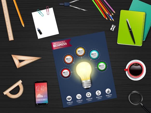 Concept de modèle d'affaires infographie avec stationnaire Vecteur Premium