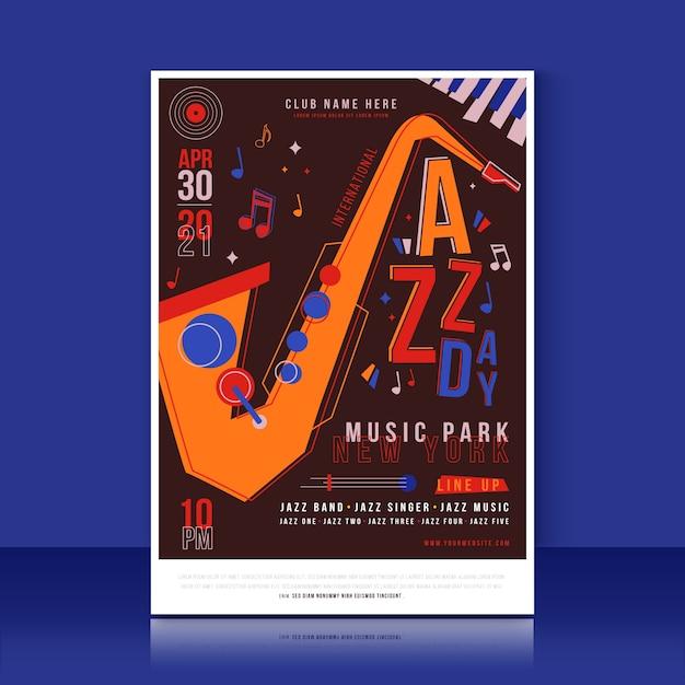 Concept De Modèle D'affiche De La Journée Internationale Du Jazz Vecteur gratuit