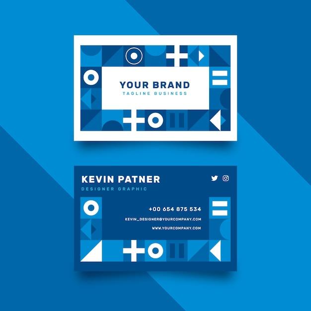 Concept De Modèle De Carte De Visite Bleu Classique Abstrait Vecteur gratuit