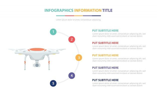 Concept de modèle d'infographie de drone avec une liste de cinq points et de diverses couleurs Vecteur Premium
