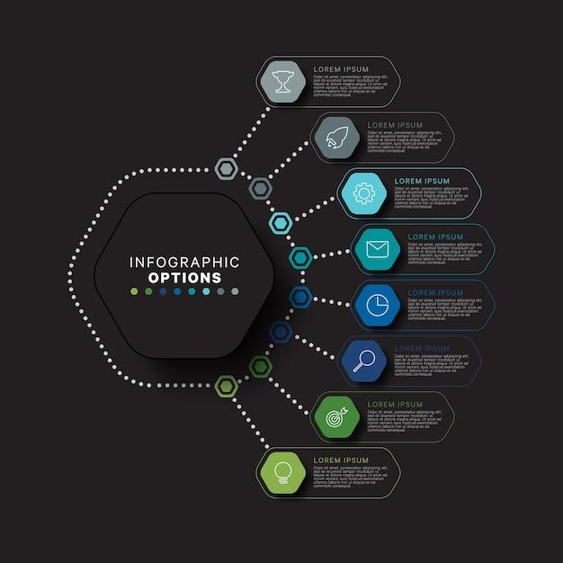 Concept De Modèle Infographique Moderne Avec Des éléments Relistiques Hexagonaux Vecteur Premium