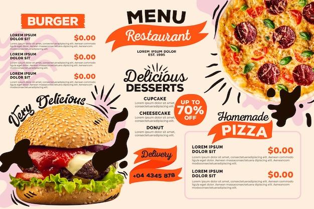 Concept De Modèle De Menu De Restaurant Numérique Vecteur gratuit