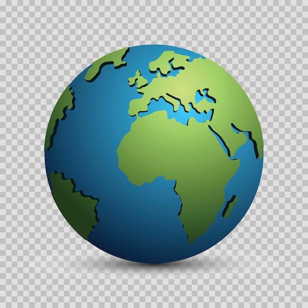 Concept de modèle moderne globe monde 3d isolé. planète mondiale, sphère terrestre Vecteur Premium