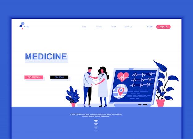 Concept de modèle de page de destination plate de médecine Vecteur Premium