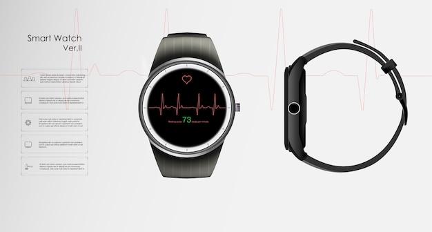 Le Concept De Montres Intelligentes Qui Surveillent Les Paramètres De Sommeil Et De Repos, De Santé Et De Fréquence Cardiaque. Vecteur Premium