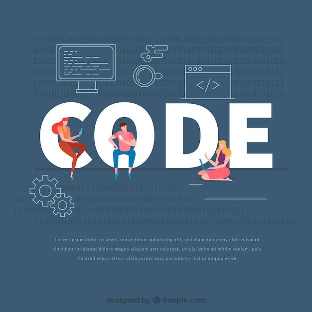 Concept de mot de code Vecteur gratuit