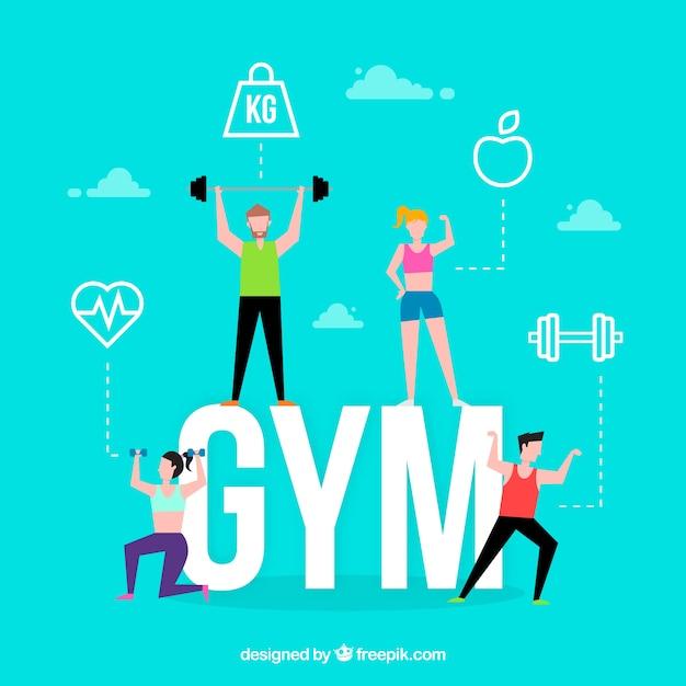 Concept de mot de gym Vecteur gratuit