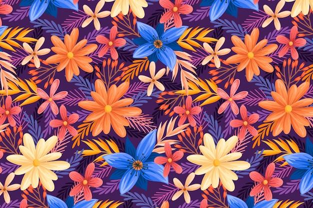 Concept De Motif Floral Vecteur gratuit