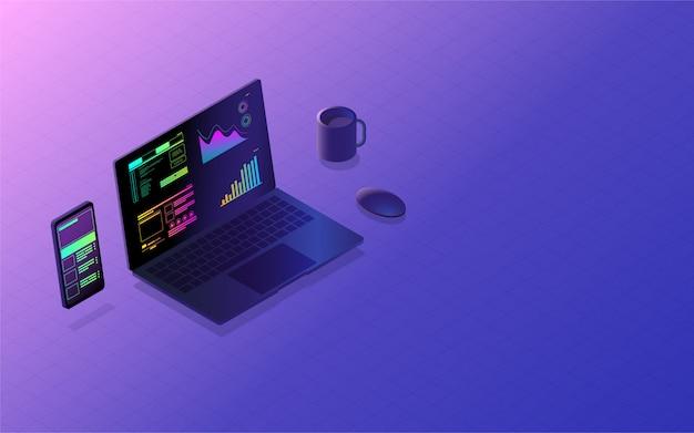 Concept multi-plateforme de développement d'interface d'application mobile Vecteur Premium