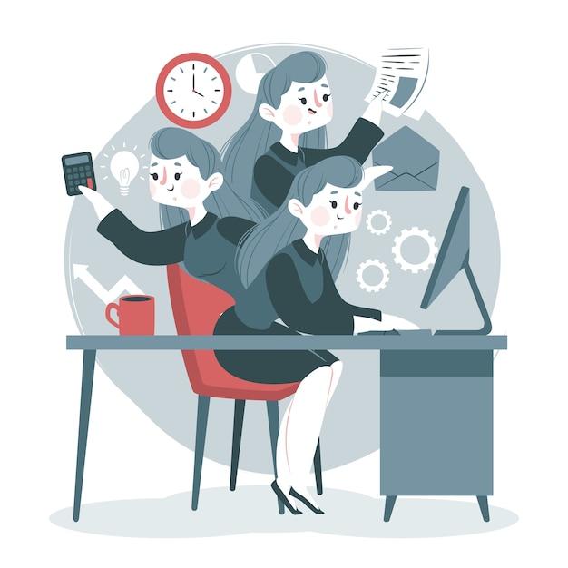 Concept Multitâche Avec Femme Travaillant Vecteur gratuit