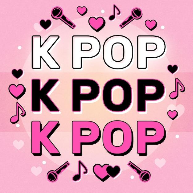 Concept De Musique K-pop Avec Des éléments Musicaux Illustrés Vecteur gratuit
