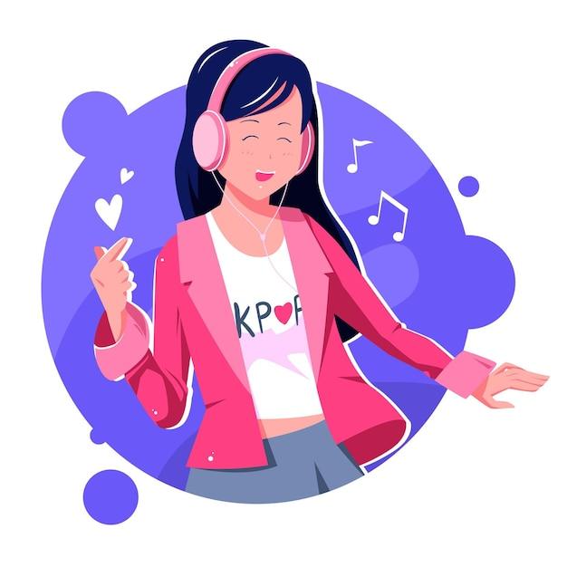 Concept De Musique K-pop Vecteur Premium