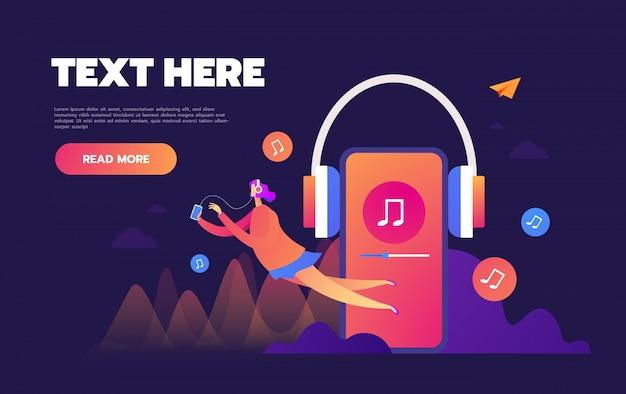 Concept de musique en ligne sur internet en streaming, les gens se détendre écouter, applications de musique, playlist de chansons en ligne, blog de musique,, Vecteur Premium