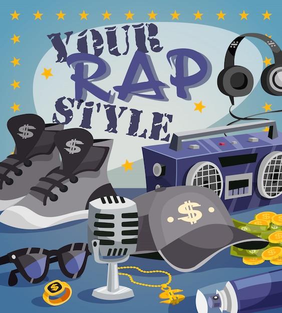 Concept de musique rap Vecteur gratuit