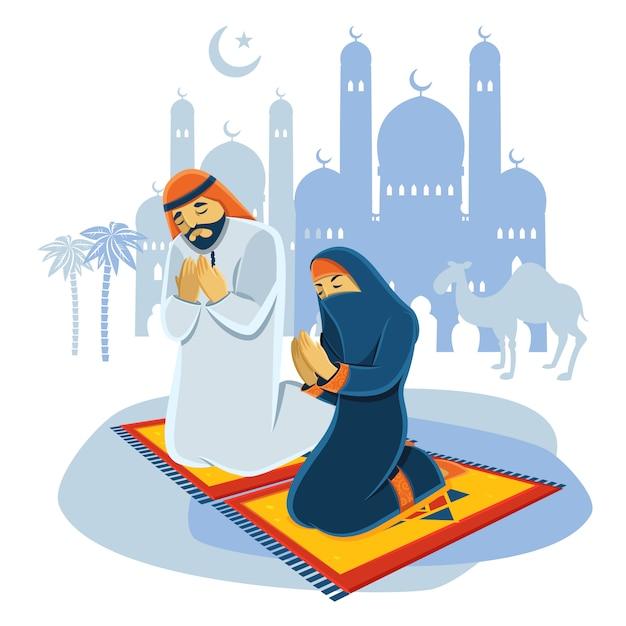 Concept musulman priant Vecteur gratuit