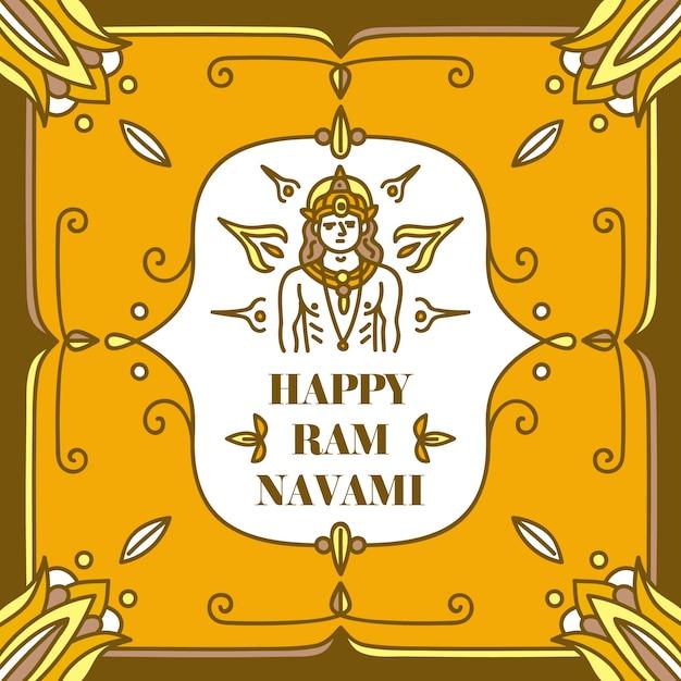 Concept De Navami Ram Dessiné à La Main Vecteur gratuit