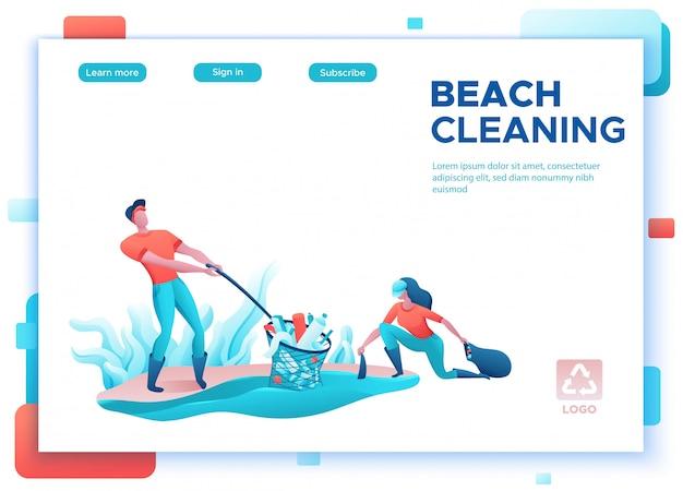 Concept De Nettoyage De La Côte De La Plage, Nettoyage Des Personnes Avec Sac Vecteur Premium