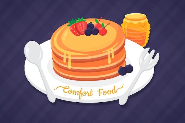 Concept De Nourriture Réconfortante Avec Des Crêpes Vecteur gratuit